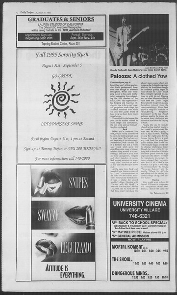 Daily Trojan, Vol. 126, No. 2, August 31, 1995
