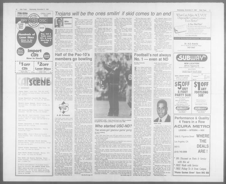 Daily Trojan, Vol. 113, No. 56, November 21, 1990