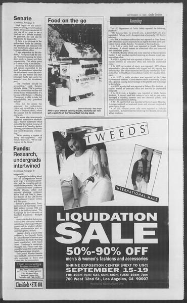 Daily Trojan, Vol. 126, No. 11, September 15, 1995