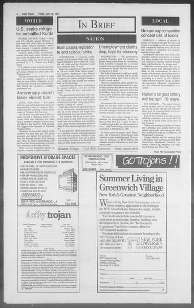 Daily Trojan, Vol. 114, No. 63, April 19, 1991