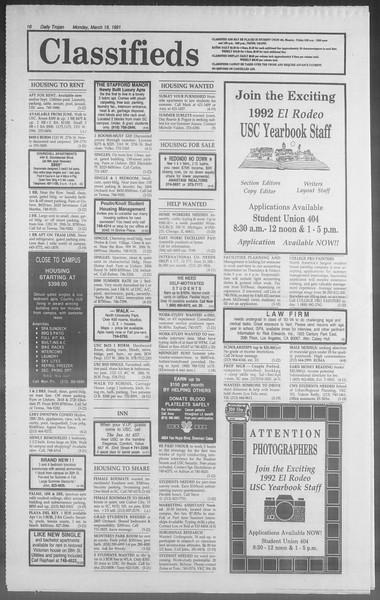 Daily Trojan, Vol. 114, No. 45, March 18, 1991