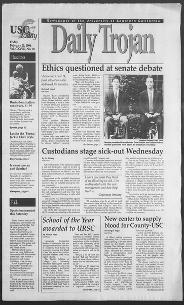 Daily Trojan, Vol. 127, No. 28, February 23, 1996