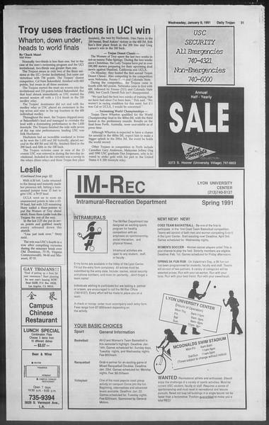 Daily Trojan, Vol. 114, No. 1, January 09, 1991