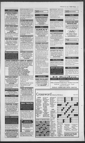 Daily Trojan, Vol. 127, No. 31, February 28, 1996