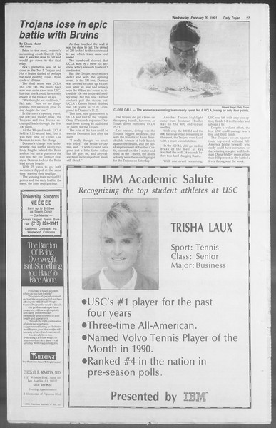 Daily Trojan, Vol. 114, No. 27, February 20, 1991