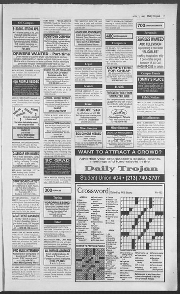 Daily Trojan, Vol. 127, No. 50, April 03, 1996