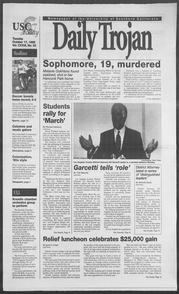 Daily Trojan, Vol. 126, No. 32, October 17, 1995