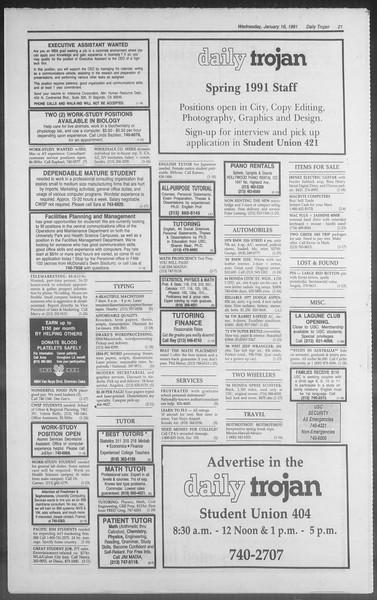 Daily Trojan, Vol. 114, No. 6, January 16, 1991