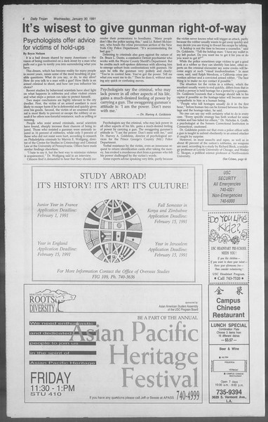 Daily Trojan, Vol. 114, No. 14, January 30, 1991