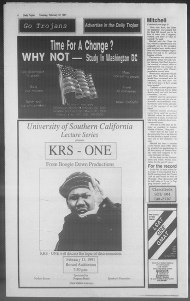 Daily Trojan, Vol. 114, No. 23, February 12, 1991
