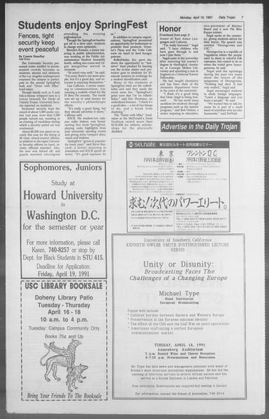 Daily Trojan, Vol. 114, No. 59, April 15, 1991