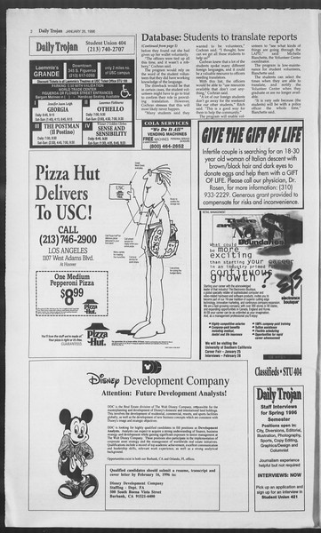 Daily Trojan, Vol. 127, No. 10, January 26, 1996