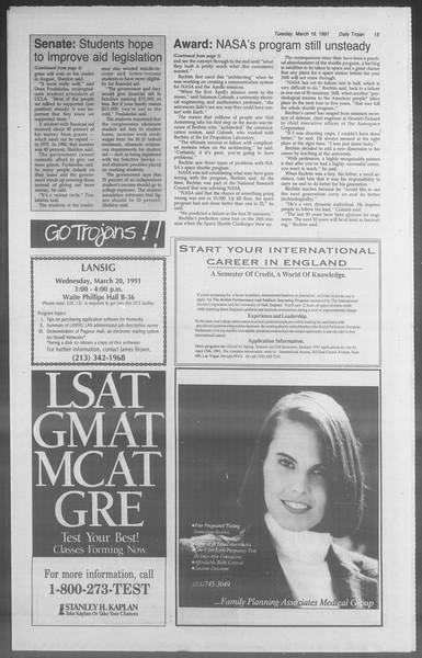Daily Trojan, Vol. 114, No. 46, March 19, 1991