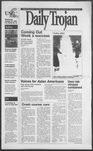 Daily Trojan, Vol. 126, No. 33, October 18, 1995