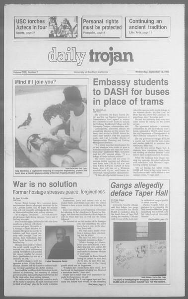 Daily Trojan, Vol. 113, No. 7, September 12, 1990