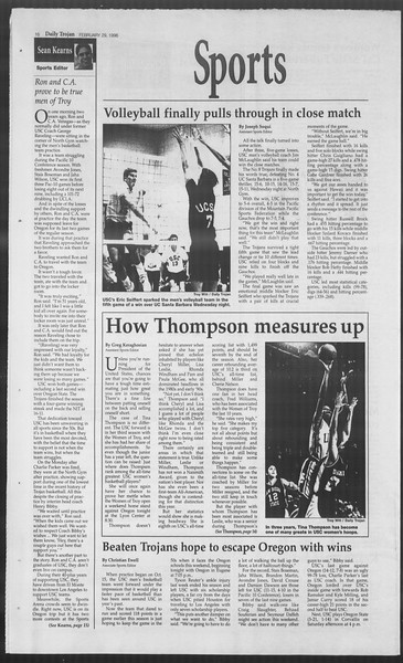 Daily Trojan, Vol. 127, No. 32, February 29, 1996