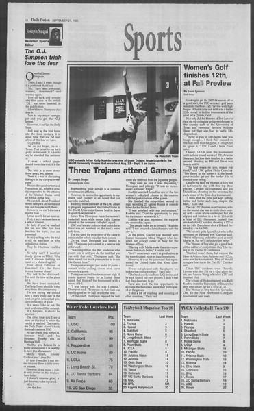 Daily Trojan, Vol. 126, No. 15, September 21, 1995