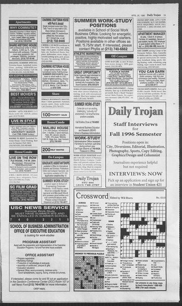 Daily Trojan, Vol. 127, No. 67, April 26, 1996