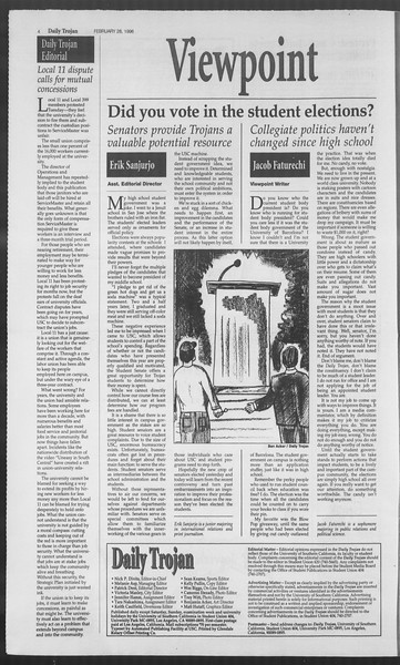 Daily Trojan, Vol. 127, No. 31, February 28, 1996