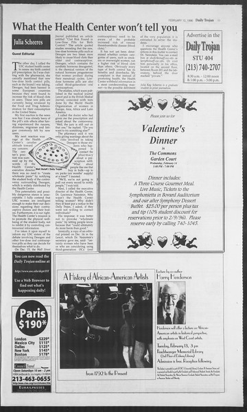 Daily Trojan, Vol. 127, No. 21, February 12, 1996
