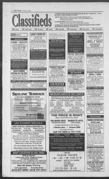 Daily Trojan, Vol. 127, No. 63, April 22, 1996