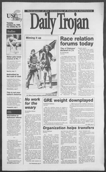 Daily Trojan, Vol. 126, No. 37, October 24, 1995