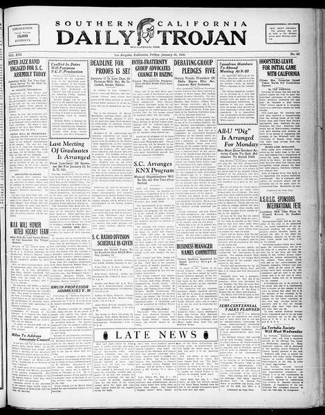 Southern California Daily Trojan, Vol. 21, No. 65, January 10, 1930