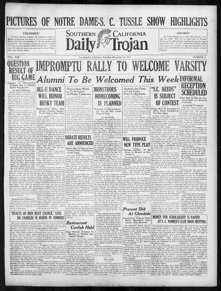 Daily Trojan, Vol. 19, No. 47, November 29, 1927