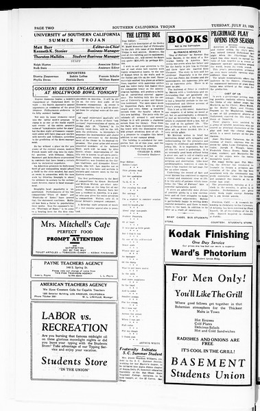 The Southern California Trojan, Vol. 8, No. 7, July 23, 1929