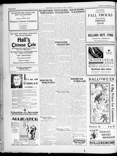 Southern California Daily Trojan, Vol. 21, No. 29, October 25, 1929