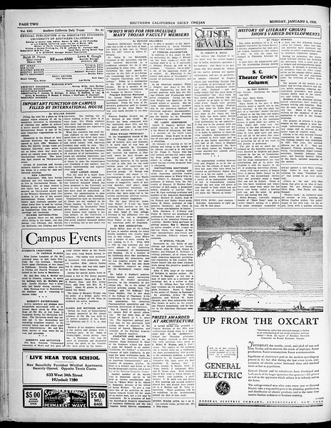 Southern California Daily Trojan, Vol. 21, No. 61, January 06, 1930