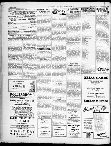 Southern California Daily Trojan, Vol. 21, No. 46, November 21, 1929