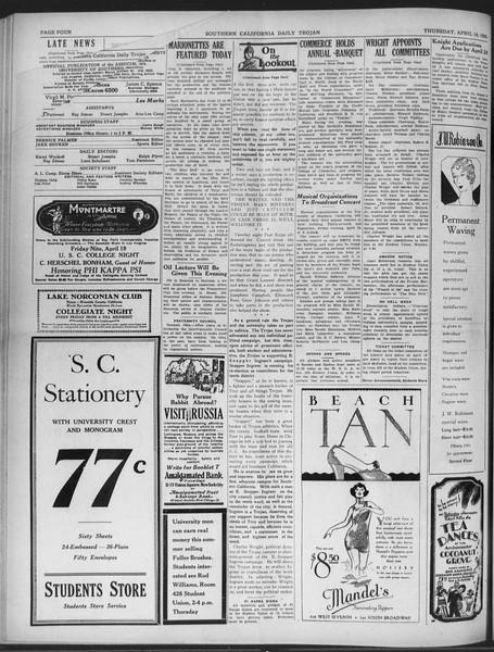 Daily Trojan, Vol. 20, No. 122, April 18, 1929