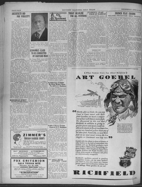 Daily Trojan, Vol. 20, No. 126, April 24, 1929