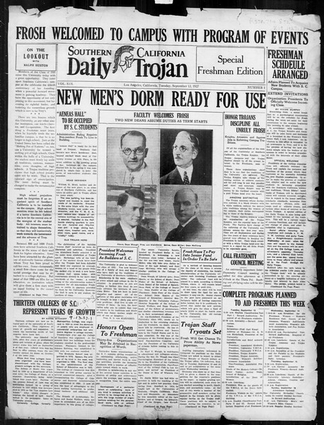 Daily Trojan, Vol. 19, No. 1, September 13, 1927