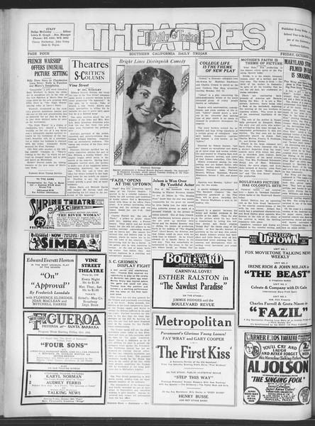 Daily Trojan, Vol. 20, No. 26, October 19, 1928