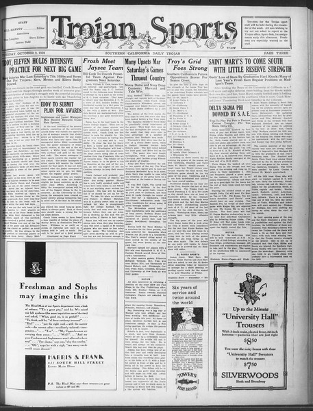 Daily Trojan, Vol. 20, No. 18, October 09, 1928
