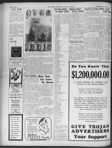 Daily Trojan, Vol. 20, No. 121, April 17, 1929