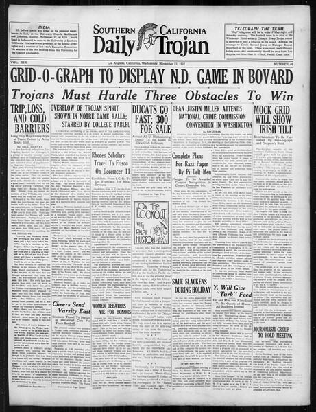 Daily Trojan, Vol. 19, No. 46, November 23, 1927