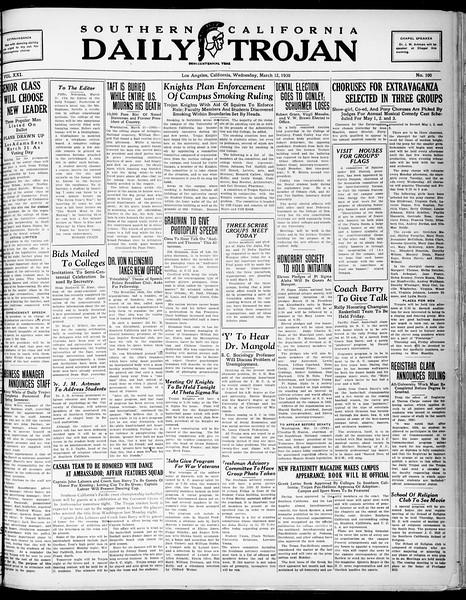 Southern California Daily Trojan, Vol. 21, No. 100, March 12, 1930