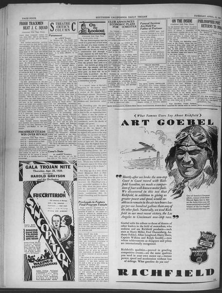 Daily Trojan, Vol. 20, No. 125, April 23, 1929