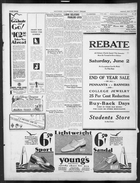 Daily Trojan, Vol. 19, No. 142, May 25, 1928