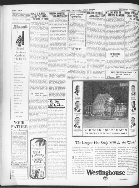 Daily Trojan, Vol. 20, No. 60, December 13, 1928