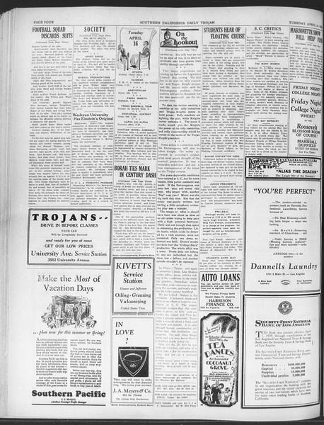 Daily Trojan, Vol. 20, No. 120, April 16, 1929