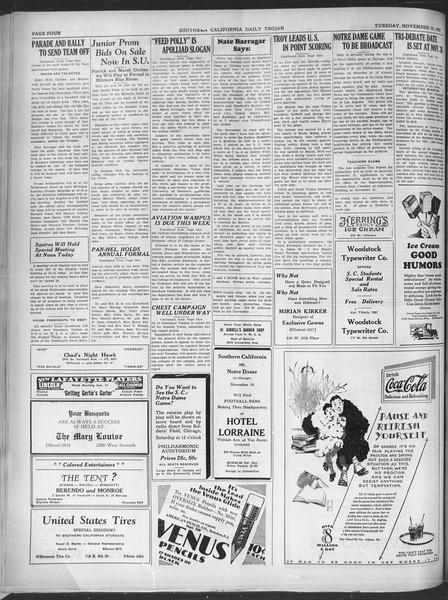 Southern California Daily Trojan, Vol. 21, No. 40, November 12, 1929