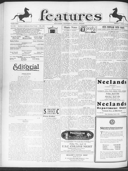 Daily Trojan, Vol. 20, No. 118, April 12, 1929