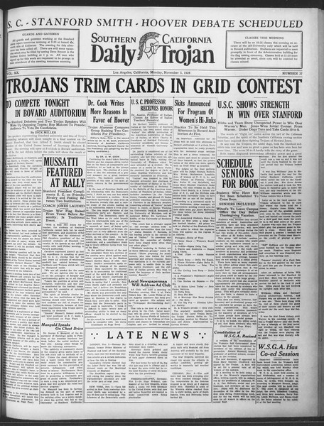 Daily Trojan, Vol. 20, No. 37, November 05, 1928