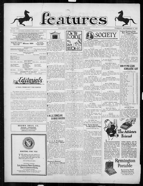 Daily Trojan, Vol. 19, No. 7, September 27, 1927