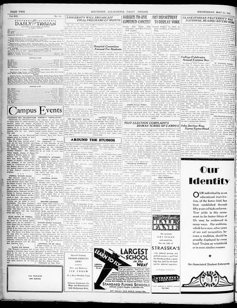 Southern California Daily Trojan, Vol. 21, No. 143, May 21, 1930