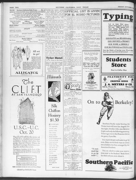 Daily Trojan, Vol. 20, No. 16, October 05, 1928